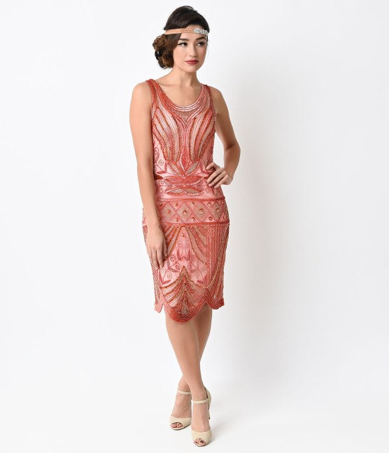 Unique_Vintage_1920s_Peach_Deco_Beaded_Caspian_Flapper_Dress_3